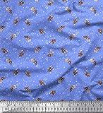 Soimoi Blau Viskose Chiffon Stoff Blätter & Beeren Obst