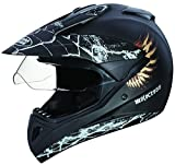 Studds Motocross D4 Full Face Helmet with Visor (Matt Black, L)