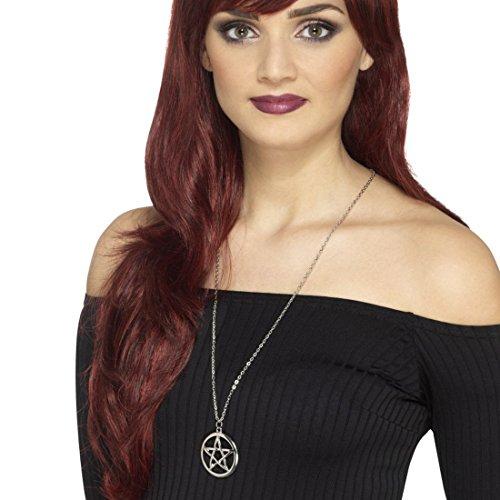Amakando Gothic Halskette mit Anhänger Magierin Halsschmuck Gothic Schmuck Zauberin Schmuckkette Hexe Halloween Hexenschmuck Pentagramm Kette -