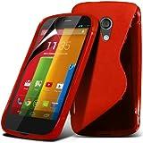 Motorola Moto G Red Elegant Premium S-Linie Wellen-Gel-Kasten-Haut-Abdeckung mit LCD-Display Schutzfolie, Reinigungstuch by Spyrox