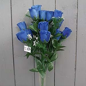 18 head Royal Blue rose buds bush/bunch modern colour ideal for weddings by HEAD