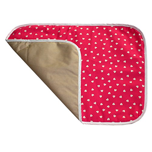 Kadambaby - Baby Waterproof Washable Diaper Changing Mat - Pink hearts