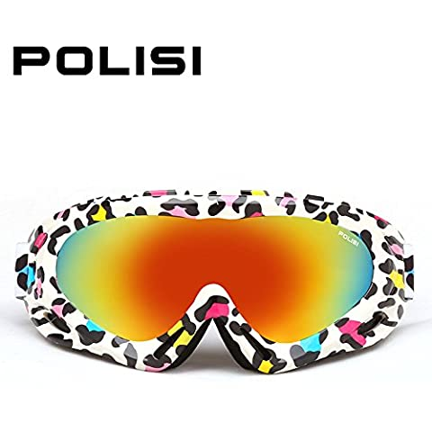 crewpros (TM) Polisi Niños chico chica invierno Nieve snowboard Gafas Anti Niebla Esquí Skate gafas Gafas de nieve gafas de esquí, Leopard Print