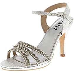Viva Mujer Diamante Medio Talón Correa de Tobillo Boda Fiesta Noche Fiesta Sandalias Zapatos - Plata KL0306R 7UK/40