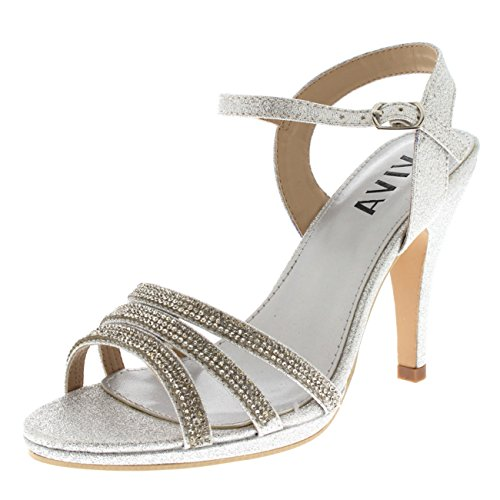 55eae5e7fbb9 Viva Womens Diamante Mid Heel Ankle Strap Wedding Party Evening Party  Sandals Shoes - Silver KL0306R