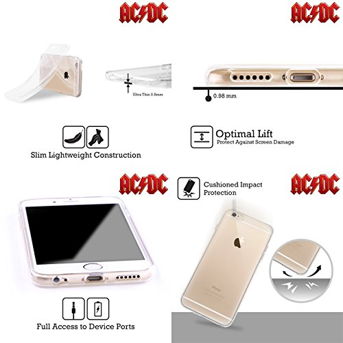 Ufficiale AC/DC ACDC Rosso Logo Cover Morbida In Gel Per Apple iPhone 6 / 6s Bianco
