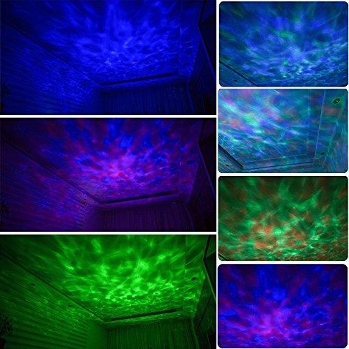 Gosear Ocean Wave LED RGB Projektor Rotierenden Nacht Lampe Projektor mit Musik Player Lautsprecher-Funktion mit Fernbedienung Weiß - 5
