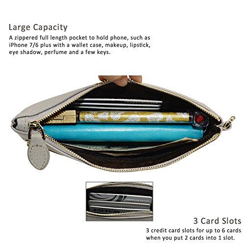 Befen pelle morbida Smartphone Zipper Wallet Organizer con il supporto della carta di credito / tasca contanti / Wristlet- [Fino a 6 x 3.1 * 0.3 pollici del cellulare] Black Light Grey full grain lychee