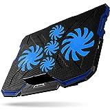 uvistare Laptop Kühler für 12-17,3 Zoll Notebook Kühler für Gaming mit 5 Ruhige Lüfter und Roten LEDs 2 USB Anschlüssen Verstellbare Windgeschwindkeit Laptop Cooling Pad (Rot) … (Blau)