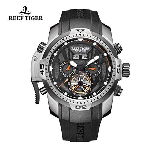 Reef Tiger sport luminoso orologio in acciaio orologio automatico RGA3532