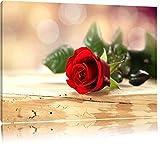 Edle Rose auf altem Holztisch Format: 80x60 auf Leinwand, XXL riesige Bilder fertig gerahmt mit Keilrahmen, Kunstdruck auf Wandbild mit Rahmen, günstiger als Gemälde oder Ölbild, kein Poster oder Plakat