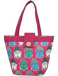 Aadhunik Libaas Lord Buddha Printed Stylish Cotton Jute Tote Bags, Shopping Bags, Shoulder Bag For Women/Girls