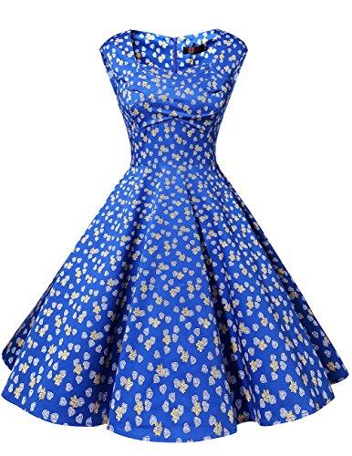Dresstells 50er Retro Audrey Hepburn Schwingen Pinup Polka Dots Rockabilly Kleid Royal Blue Flower XL
