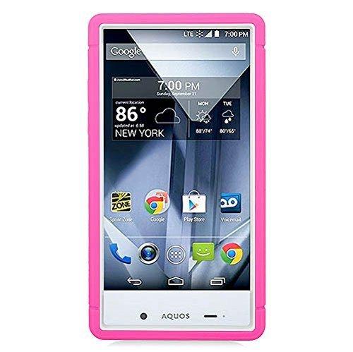 Eagle Cell Sharp Aquos Schutzhülle mit Hybrid-Ständer, Hot Pink/Weiß