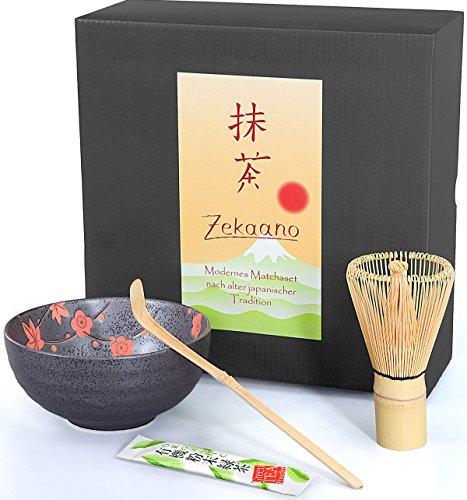 Matcha Lot de 3 Pièces, anthracite Rouge, composé de Matcha bol, Cuillère à matcha de et à fouet (Bambou) dans un coffret cadeau. Original Aricola®