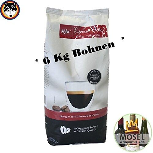 Käfer Caffe Espresso Forte ganze Bohne 6x1 Kg + 1 Flasche Mosel...