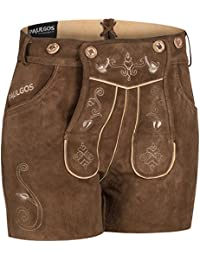 PAULGOS Damen Trachten Lederhose + Träger, Echtes Leder, Sexy Kurz, Hotpants in 5 Farben Gr. 34-50 H1