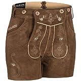 PAULGOS Damen Trachten Lederhose + Träger, Echtes Leder, Sexy Kurz, Hotpants in 5 Farben Gr. 34-50 H1, Damen Größe:36, Farbe:Hellbraun