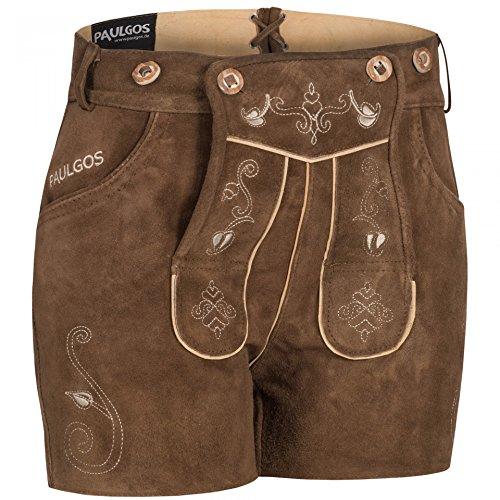 PAULGOS Damen Trachten Lederhose + Träger, Echtes Leder, Sexy Kurz, Hotpants in 5 Farben Gr. 34-50 H1, Damen Größe:44, Farbe:Hellbraun