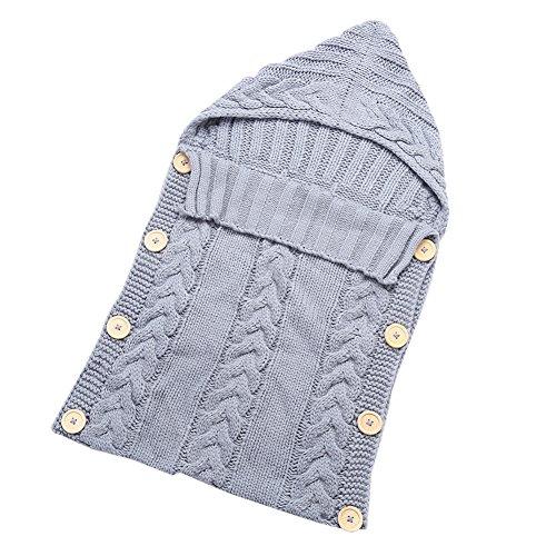 Neugeborenes Baby Schlafsäcke Gestrickt Wickeln Swaddle Decke Schlafsack Schlafanzüge für 0-12 Monat Baby (One size, A-Grey)
