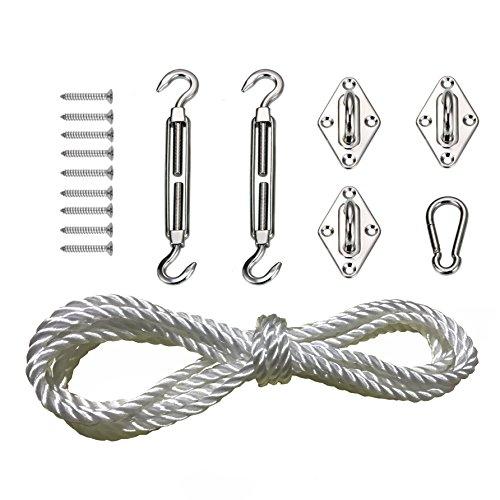 Heavy Duty Sun Shade Sail Kit para triángulo y cuadrado, rectángulo,acero inoxidable 304 toldo fijación accesorios(3 ojales de almohadilla,2 hebillas de giro,1 ganchos,1x5m cuerda ,12 tornillos)