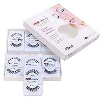 Cravog 12 Pairs False Fake Human Hair Eyelashes Adhesives Glamour Black Natural Eye Lashes Makeup Beauty (DW)