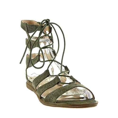 Angkorly Damen Schuhe Sandalen - Römersandalen - Sexy - Bestickt - Multi-Zaum Blockabsatz 2 cm Grüne