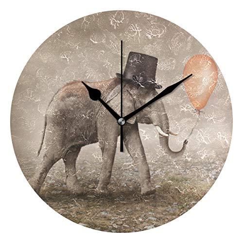 LISUMAL Surreal Illusionist Elephant Print,Sveglia Rotonda Senza Scala da 25 cm per Uso Domestico, Display da Parete a Doppio Uso, Stile retrò Rustico colorato Chic