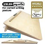 Zieler Easywriter - Tablero inclinado ergonómico para una mejor postura al escribir -Acabado en madera lacada de alta calidad - Ángulo de 20 grados -Apto para diestros y para zurdos -Diseño compacto - Tamaño A3