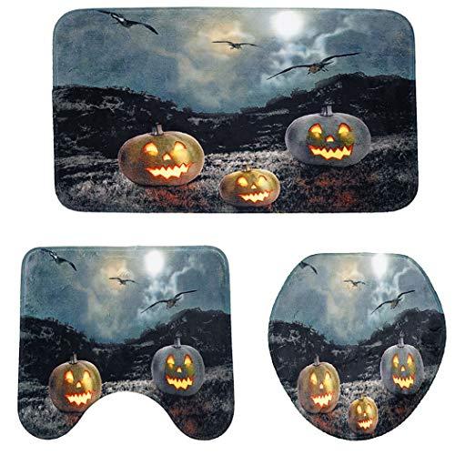 JUSTDOLIFE 3 StÜcke Bad Teppich Set Rutschfeste Dekorative Toilettendeckel Abdeckung für Halloween