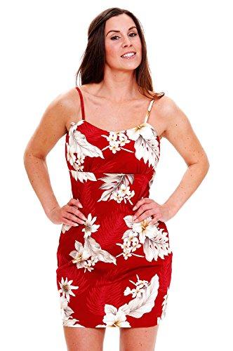 Pacific-Legend-Original-Hawaii-vestido-Mujer-S--XXL-Verano-Hawaii-de-Print-flores-rojo-rojo-extra-large