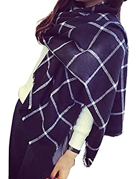 Mytom Moda Mujer Caliente Invierno Bufanda Largo Suave Tartán Bufandas Abrigos