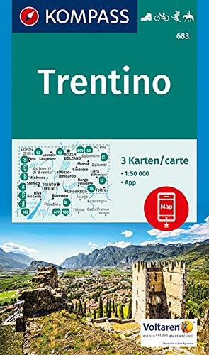 KOMPASS Wanderkarte Trentino: 3 Wanderkarten 1:50000 im Set inklusive Karte zur offline Verwendung in der KOMPASS-App. Fahrradfahren. Skitouren. ... 1:50 000 (KOMPASS-Wanderkarten, Band 683)