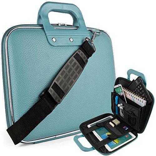 Vegan Leather Ellen Cube Carrying Blue Shoulder Bag w/ Handles For Samsung Galaxy 9.7