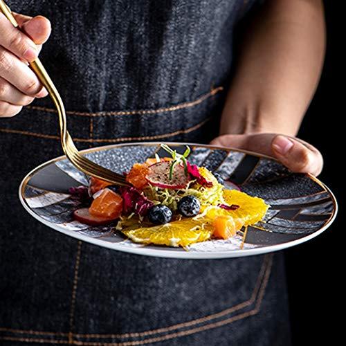 XIUXIU Assiette à steak Continental Western Personnalité Céramique Creative Cuisine Assiette précoce [1 paquet] (Color : B, Taille : 20cm)