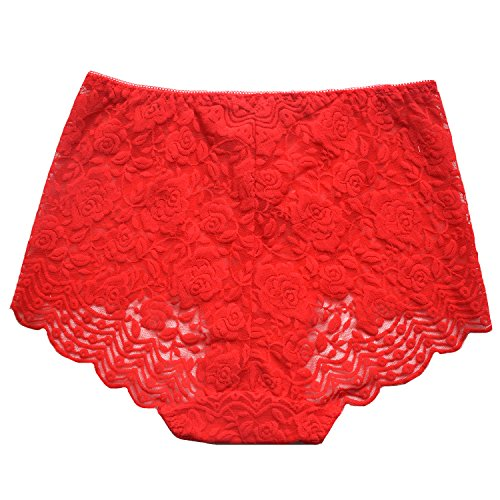 MEINA Damen Unterhose Sheer Sexy Floral Lace Boyshorts High-Rise Slips (Lace Boyshort-tanga)
