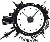 GRAZDesign 800206_BK_070 Wanduhr Wandtattoo mit Uhrwerk für Wohnzimmer Skyline Hamburg Rund Kreis (67x57cm//070 Schwarz//Uhrwerk Schwarz)