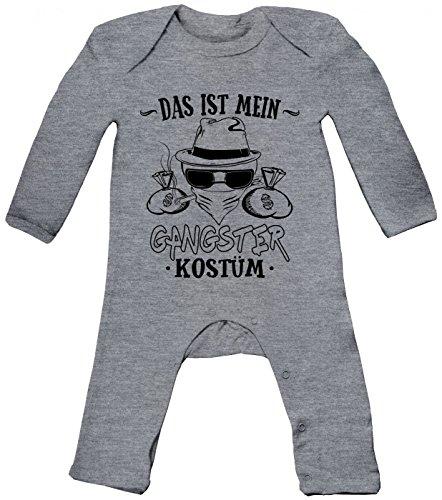 m Gangster Babybody | Verkleidung | Karneval | Fasching | Langarm | Langärmliger Strampler, Farbe:Graumeliert (Heather Grey Melange BZ13);Größe:6-12 Monate (Gangster Baby Kostüm)
