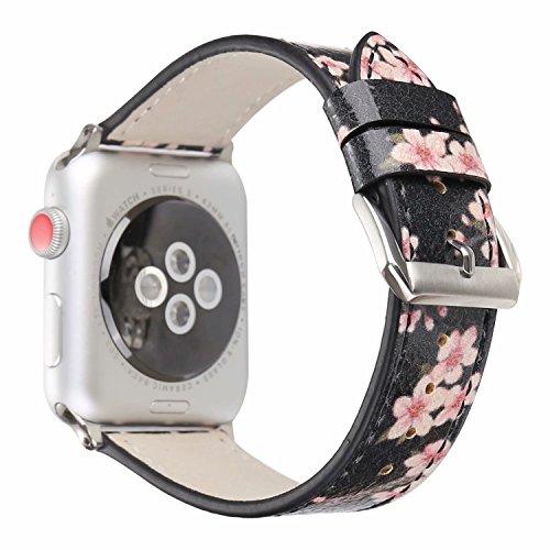 Preisvergleich Produktbild Apple Watch Armband 38mm,  Outter Smart Leder Armband Blumenmuster Echtleder Uhrenarmband mit Classic Schnalle Einstellbares Ersatzband für Apple iWatch Series 3 Series 2 Series 1 - Black