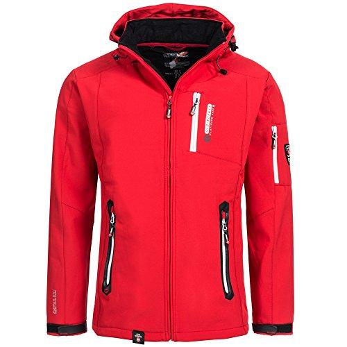 Geographical Norway TRIDENT Herren Softshell Funktions Outdoor Jacke wasserfest mit Thermowollmütze Rot