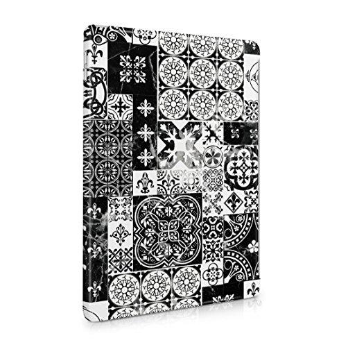 White Moroccan Ornaments Mosaic On Black Marble Dünne Rückschale aus Hartplastik für iPad Air 2 Tablet Hülle Schutzhülle Slim Fit Case cover (White Trellis)