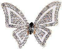 FENGJI Full Rhinestone Butterfly Retro Crystal Brooch Pin Lovely Wedding Brooches for Women Gold Black