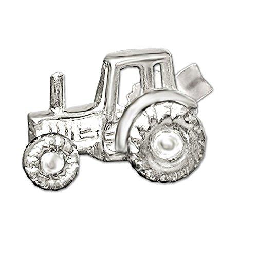 Clever Schmuck Silberner einzelner Single Ohrstecker Traktor 9 x 6 plastisch ausgeprägt und glänzend STERLING SILBER 925