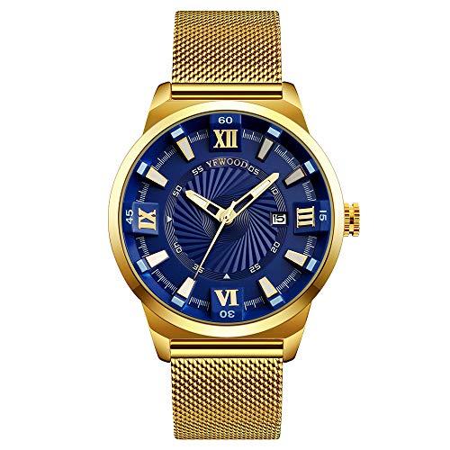Unisex Männer Frauen Uhren wasserdichte Mode Einfache Analoge Quarzuhr Mann Gold Edelstahl Mesh Armbanduhr (Blaues Zifferblatt)