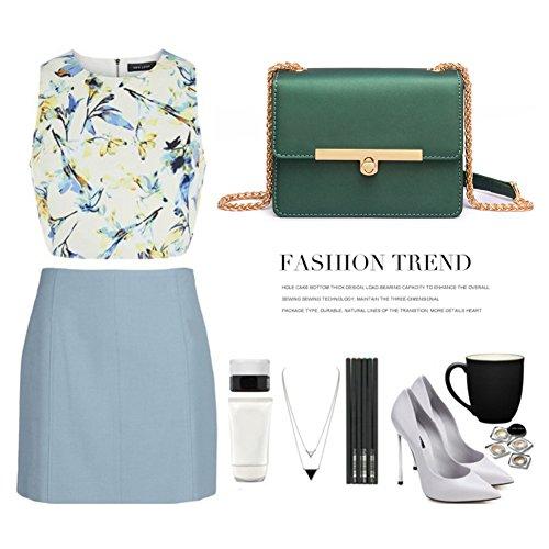 Borsa Yoome Flap Bag Retro Piccola elegante pura moda colorata catena casual di piccoli trucco per le ragazze - verde Nero