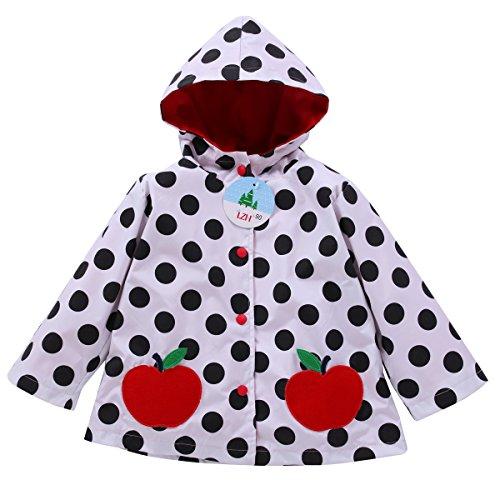 LZH Girls Raincoat Waterproof Rain Jacket Hooded Flower Print Coat