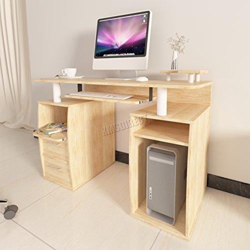 FoxHunter Bureau d'ordinateur table de PC avec étagères tiroirs de rangement Home Office Furniture Study station de travail de bureau Gaming Morden Grande CD05Noyer