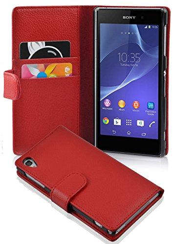 Cadorabo Hülle für Sony Xperia Z2 - Hülle in INFERNO ROT – Handyhülle mit Kartenfach aus struktriertem Kunstleder - Case Cover Schutzhülle Etui Tasche Book Klapp Style