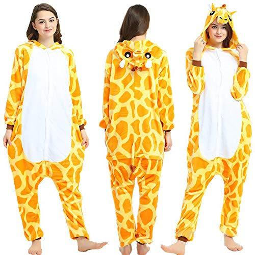 SSM Tier Pyjama Onesies Fasching Halloween Kostüm Schlafanzug Cosplay Pyjama Unisex Kinder Jungen Karneval Einteiler Giraffe 130