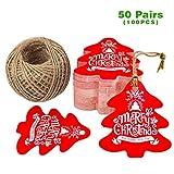 Etichette per regali natalizi 100pz Etichette con carta aritigianale 5cm * 5,5cm ideale per il lavoro fatto a mano & artigianale–a forma di albero di Natale Red